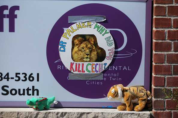 BLOOMINGTON, MN - JULY 29: Protesters place stuffed animals on the sign of Dr. Walter Palmer's River Bluff Dental Clinic to call attention to the alleged poaching of Cecil the lion on July 29, 2015 in Bloomington, Minnesota. According to reports, the 13-year-old lion was lured out of a national park in Zimbabwe and killed by Dr. Palmer, who had paid at least $50,000 for the hunt. (Photo by Adam Bettcher/Getty Images)