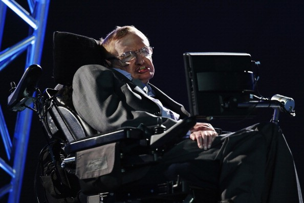 LONDON, ENGLAND - AUGUST 29: Professor Stephen Hawking speaks during the Opening Ceremony of the London 2012 Paralympics at the Olympic Stadium on August 29, 2012 in London, England. (Photo by Dan Kitwood/Getty Images)