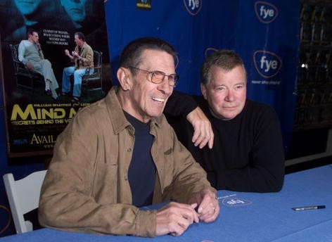 Leonard Nimoy and William Shatner at a DVD/video signing for 'Mind Meld: Secrets Behind the Voyage of a Lifetime' at FYE in Los Angeles, Ca. Sunday, March 17, 2002. Photo by Kevin Winter/ImageDirect.