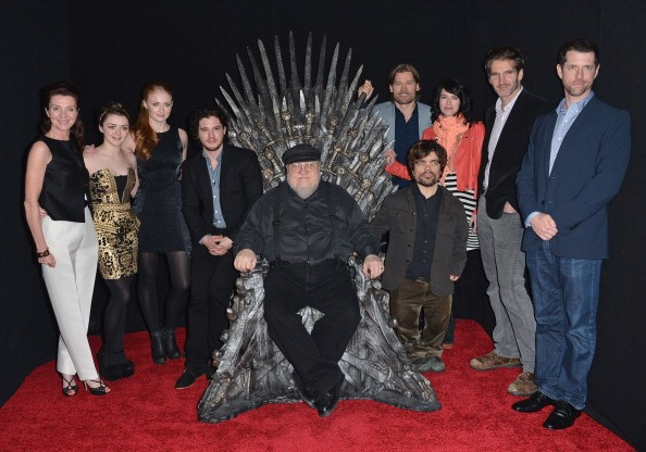 HOLLYWOOD, CA - MARCH 19: Actors Michelle Fairley, Maisie Williams, Sophie Turner, Kit Harington, executive producer George R.R. Martin, actors Nikolaj Coster-Waldau, Peter Dinklage, Lena Headey, co-creator/executive producer David Banioff and co-creator/executive producer D.B. Weiss attend The Academy of Television Arts & Sciences' Presents An Evening With 'Game of Thrones' at TCL Chinese Theatre on March 19, 2013 in Hollywood, California. (Photo by Alberto E. Rodriguez/Getty Images)