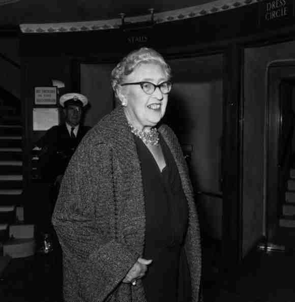 12th August 1958: First lady of crime writing Agatha Christie, at the London premiere of her new play 'The Unexpected Guest'. (Photo by Alan Meek/Express/Getty Images)