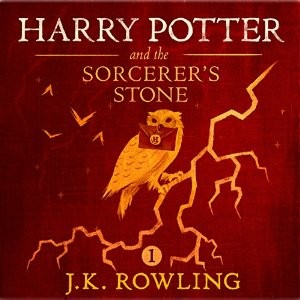 """Harry Potter and the Sorcerer's Stone, Book 1"" audiobook cover. Written by J.K. Rowling and narrated by Jim Dale"